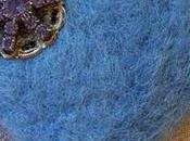 Blue Felt Brooch Embellished with Vintage Earring