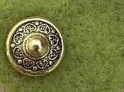 Green Felt Brooch with Vintage Button