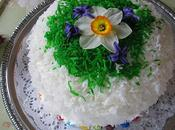 Lemon Orange Easter Cake with Spring Flowers