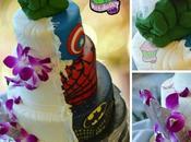Geeky Superhero Wedding Cake Batman, Spider-Man Hulk Layers