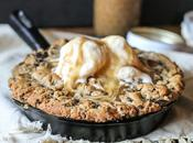 Salted Caramel Filled Dark Chocolate Chunk Skillet Cookie