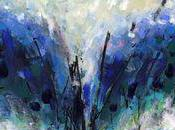Blue Central Abstract Painting Paper