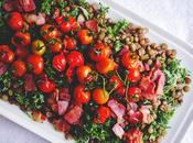 Power Food Salad Lentils Kale Bacon with Warm Sautéed Cherry Tomatoes Green