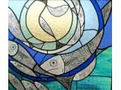 Stained Glass Fish Window Bathroom