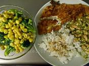 Northern Atlantic Flounder with Shrimp, Steamed Broccoli Corn Fluffy Long Grain Rice