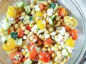 Chopped Salad with Chickpeas, Zucchini, Tomatoes Feta Cheese