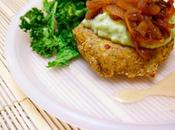 Healthy Homemade Chickpea/ Garbanzo Bean Burger with Avocado Creamsauce, Caramelized Onions Baked Kale Chips