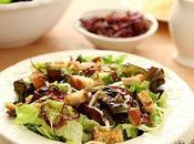 Mixed Greens Salad with Smoked Mozzarella Warm Roasted Garlic Dressing