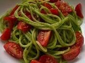 Linguine with Wild Garlic Pesto Plum Tomatoes