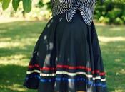 Stripes, Circle Skirt, Leopard Print Shoes