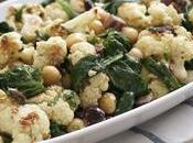 Roasted Cauliflower Salad with Spinach Chickpeas