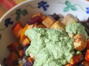 Beets, Butternut Squash, Tofu Bowl with Cheezy Pesto
