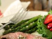 Grilled Flank Steak Asparagus with Béarnaise Butter