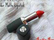 Chambor Powder Matte Lipstick Rubis Rouge Review, Swatches, Dupe, Lips
