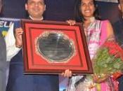Sindhu Flaunting Silver During Felicitation Maharashtra
