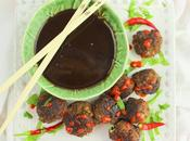 Asian Meatballs with Chocolate Satay Sauce #Choctoberfest