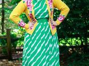 Floral Cardigan, Striped Dress, Headscarf