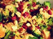 Sweet Potato Broccoli Salad with Pomegranate-peanut Dressing VeganMoFo 2016