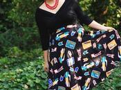 Crop Top, Headscarf, Novelty Print Skirt