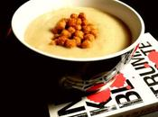 Garlic-Rosemary Cauliflower Potato Soup with Smoky-Maple Chickpeas