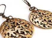 Texas Leaf Bronze Dangle Leverback Earrings Oak...