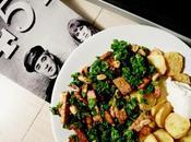 Sautéed Kale Tempeh with Raisins Peanuts