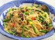 Fresh Rice Noodles with Mushrooms, Asparagus Peas