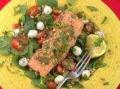 Grilled Salmon Salad Caprese #CookoutWeek