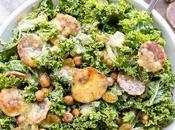 Kale Salami Salad with Roasted Garlic Vinaigrette (Gluten Free Dairy Free)