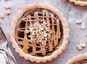 Chocolate Peanut Butter Caramel Tarts with Shortbread Crust (Gluten Free, Grain Free Vegan)