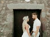 Boho Wedding with White Flowers Santorini Jenny James