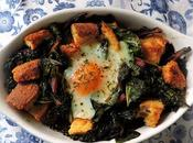 Baked Eggs with Swiss Chard Garlic Croutons