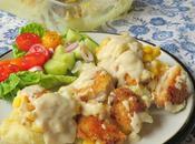 Crispy Chicken with Cheesy Mash Cream Gravy