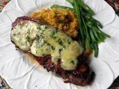 Stilton Steaks with Sweet Potato Garlic Mash