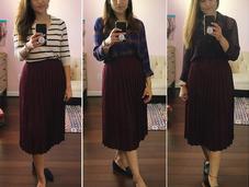 Three Ways: Maroon Pleated Skirt