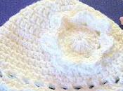 Handmade Crocheted Baby Cotton Yarn White With Flower Newborn Three Months