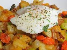 Anything Hash Perfectly Poached Eggs