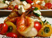 Colossal Tiger Prawns with Roasted Sweet Peppers, Grape Tomatoes Goat Cheese, Drizzled Spice