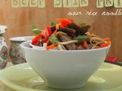 Weeknight Special Thai Style Beef Chicken Stir-Fry Over Rice Noodles