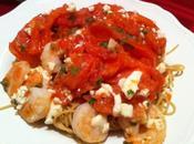 Roasted Tomatoes, Shrimp Feta Spaghetti