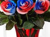 Tie-Dyed Roses Red, White Blue Color Rainbow.