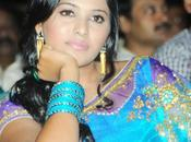 Anjali Beautiful Pics Blue Saree SVSC Audio Launch Full Gallery
