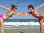 Nina Dobrev Gets Bendy Beach