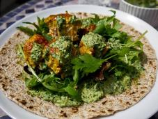Salmon Tikka Chapati with Mint Coriander Raita