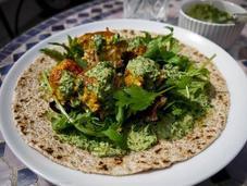 Salmon Tikka Chapati with Mint Coriander Raita