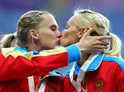These Russian Track Field Chicks Kissed Winner's Podium Moscow