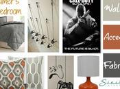 Boys Gamer Themed Bedroom Shades Gray Orange