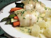 Dover Sole Roll-ups with Roasted Vegetables, Drizzled Chive Butter