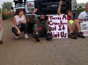 Protestors Lock Themselves Pipeline Trucks Opposition Enbridge Line